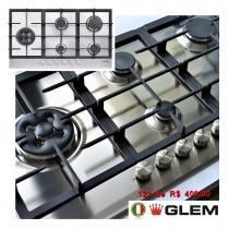 Cooktop Matrix Glem Semiprofissional a Gás 5 Bocas com Tripla-Chama Lateral Inox 86cm 220V GLMGT951HIX